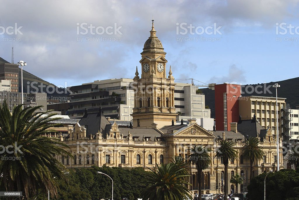 A long shot of a city hall on a clear day stock photo