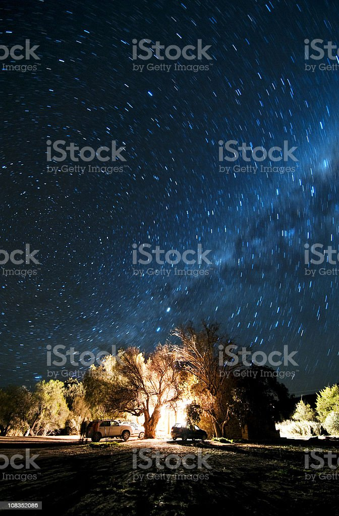 Long shot of ground under starry milky way sky. stock photo