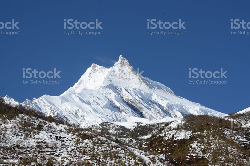 Long shot of the Manaslu mountain stock photo