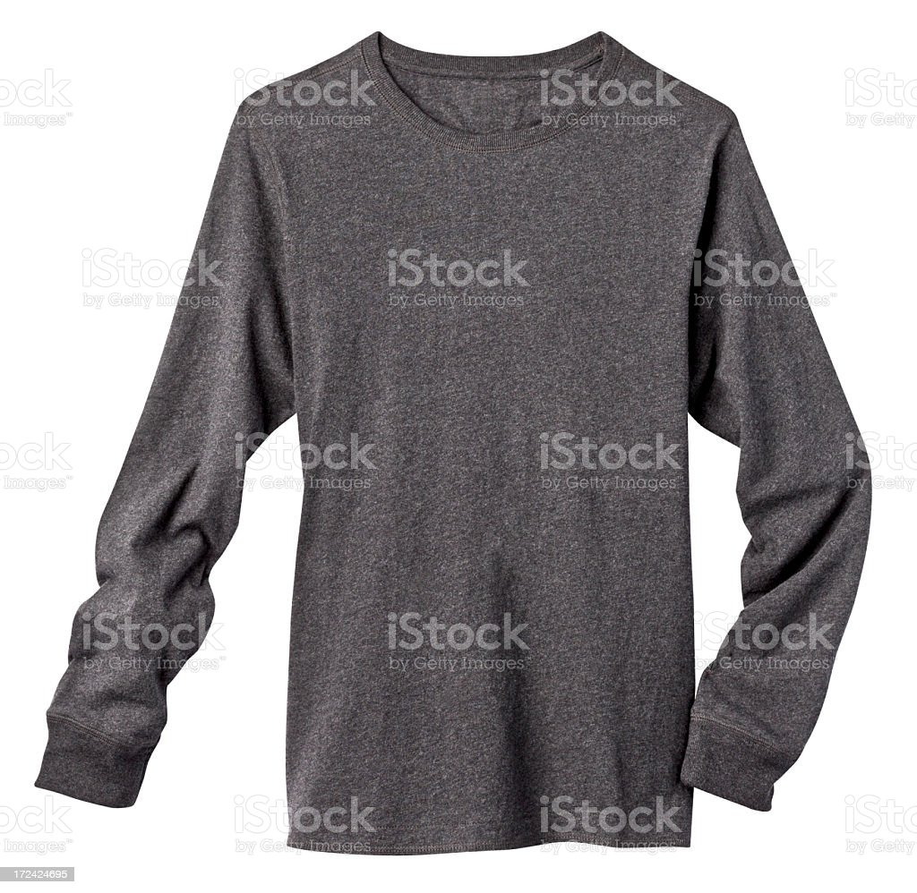 Long Sleeve Blank Gray Tee Shirt, Isolated on White. stock photo