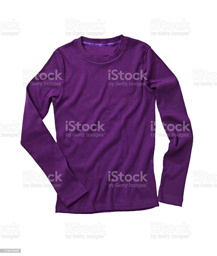 A long sleeve wrinkled purple shirt stock photo