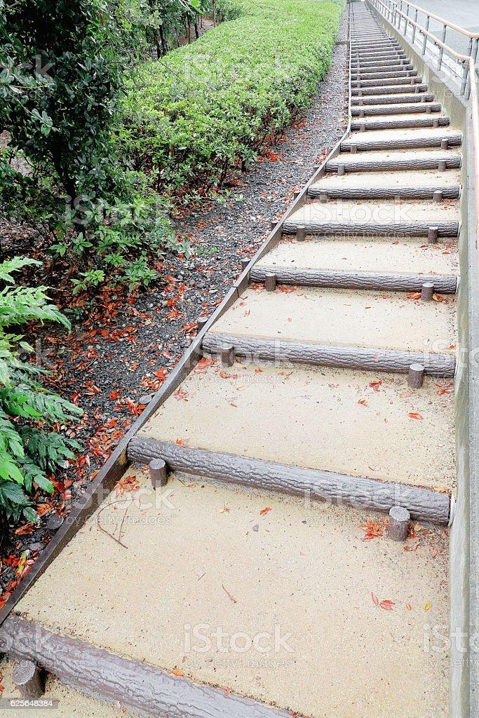 Long stairway alongside the boundary-Hinokicho Koen-park. Tokyo-Japan. 8112 stock photo