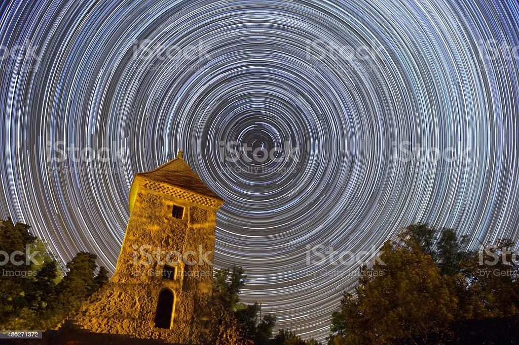 long stars trails stock photo