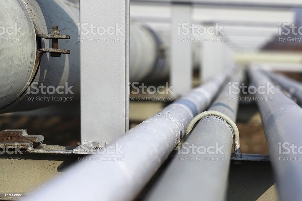 long steel pipe in oil refinery royalty-free stock photo