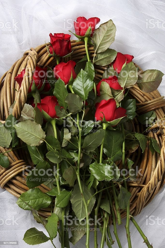 Long Stem Red Roses in Basket royalty-free stock photo