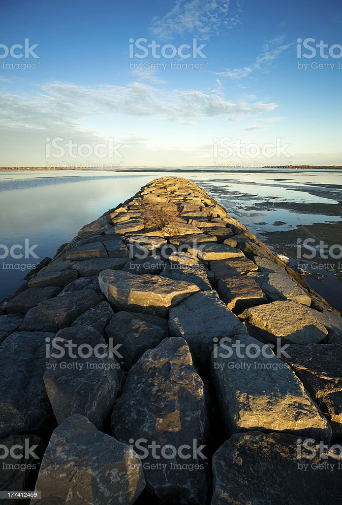 Long Stone Jetty on the Ottawa River stock photo