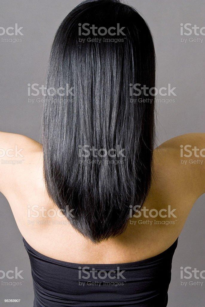 Long Straight Black Hair royalty-free stock photo