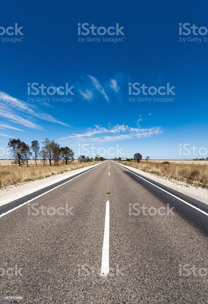 Long straight country road: perspective diminishing to a vanishing point stock photo