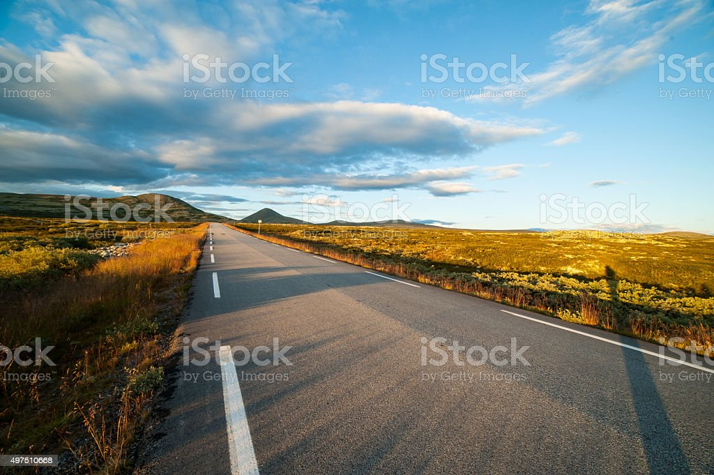 Long straight empty road stretching through moorland in Norway stock photo