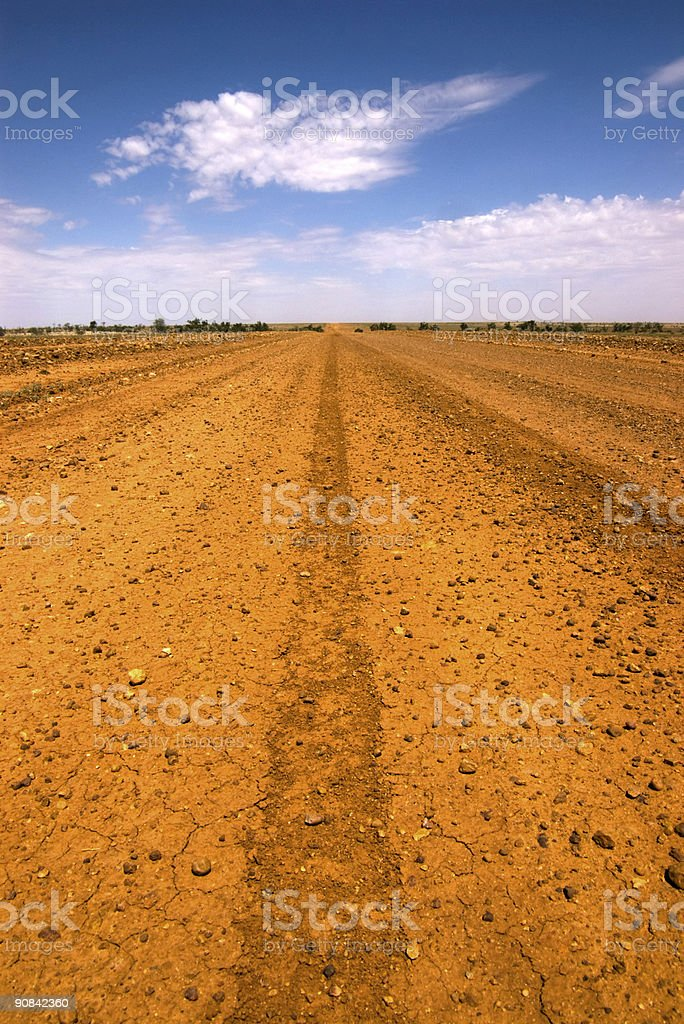 Long Straight Gravel Road in Central Australia royalty-free stock photo