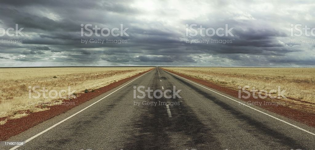Long straight Road on Australia's Stuart Highway royalty-free stock photo