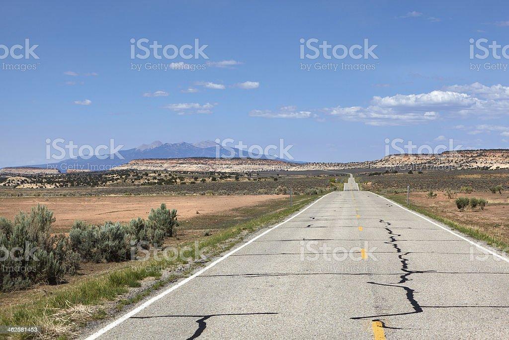 Long Straight Road, Utah, USA royalty-free stock photo