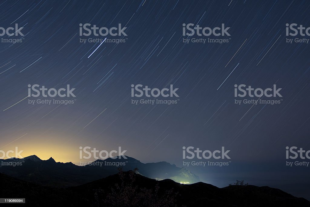 Long streaming exposure of a night sky stock photo