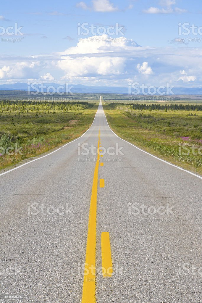 Long stretch of Highway, Alaska stock photo