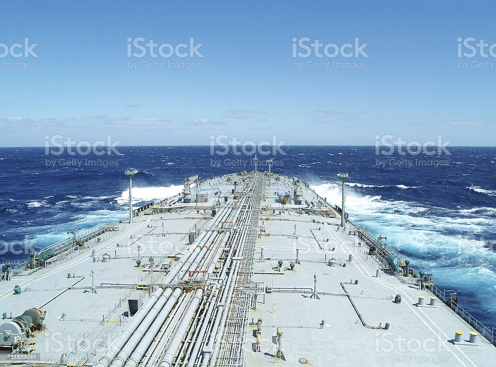 Long strip of land between blue bodies of water stock photo