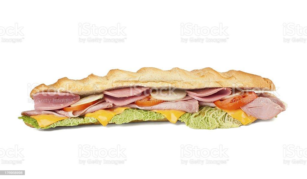 long sub baguette sandwich royalty-free stock photo