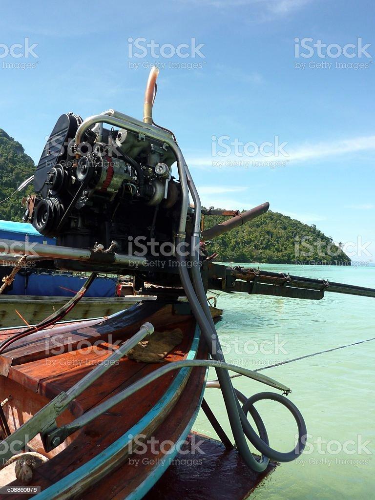 Long Tail boat at Loh Dalum beach, PhiPhi island, Thailand stock photo