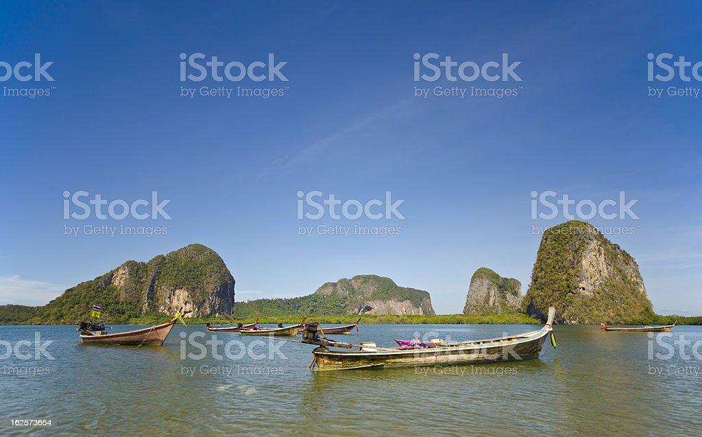 Long Tail Boat at Pak Meng Pier, Trang Province, Thailand royalty-free stock photo