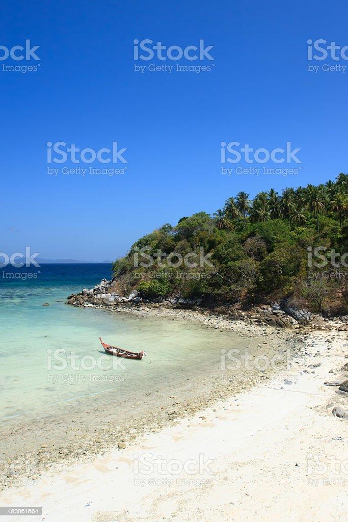 Long tail boat at Siam Bay. stock photo