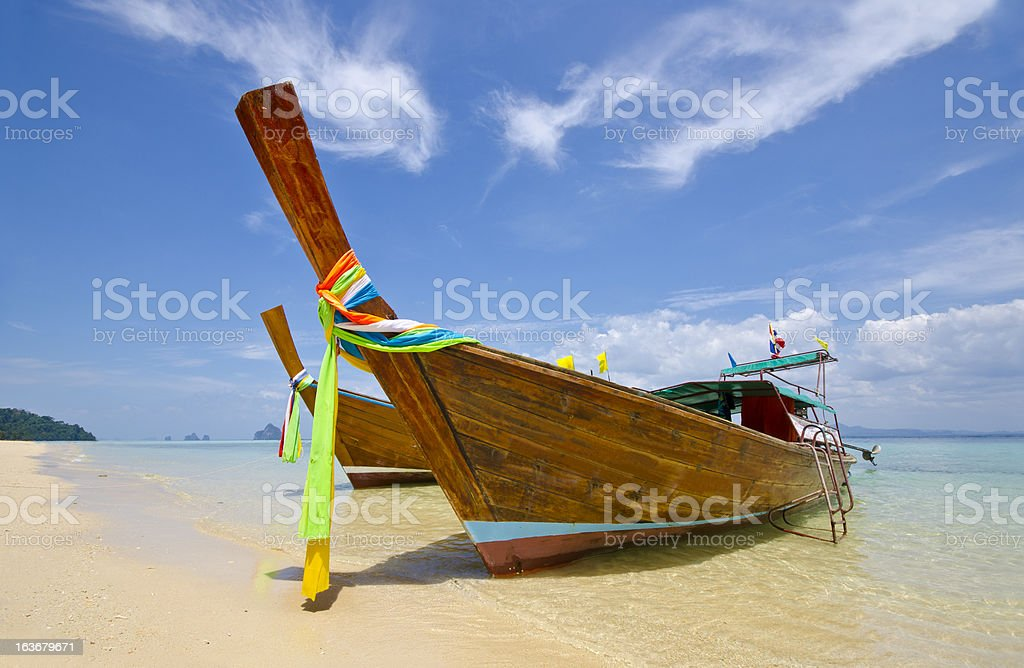 Long Tail Boat at Trang Province, Thailand royalty-free stock photo