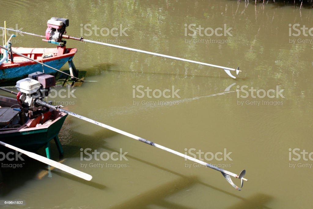 Long tail boat engine Steel stock photo