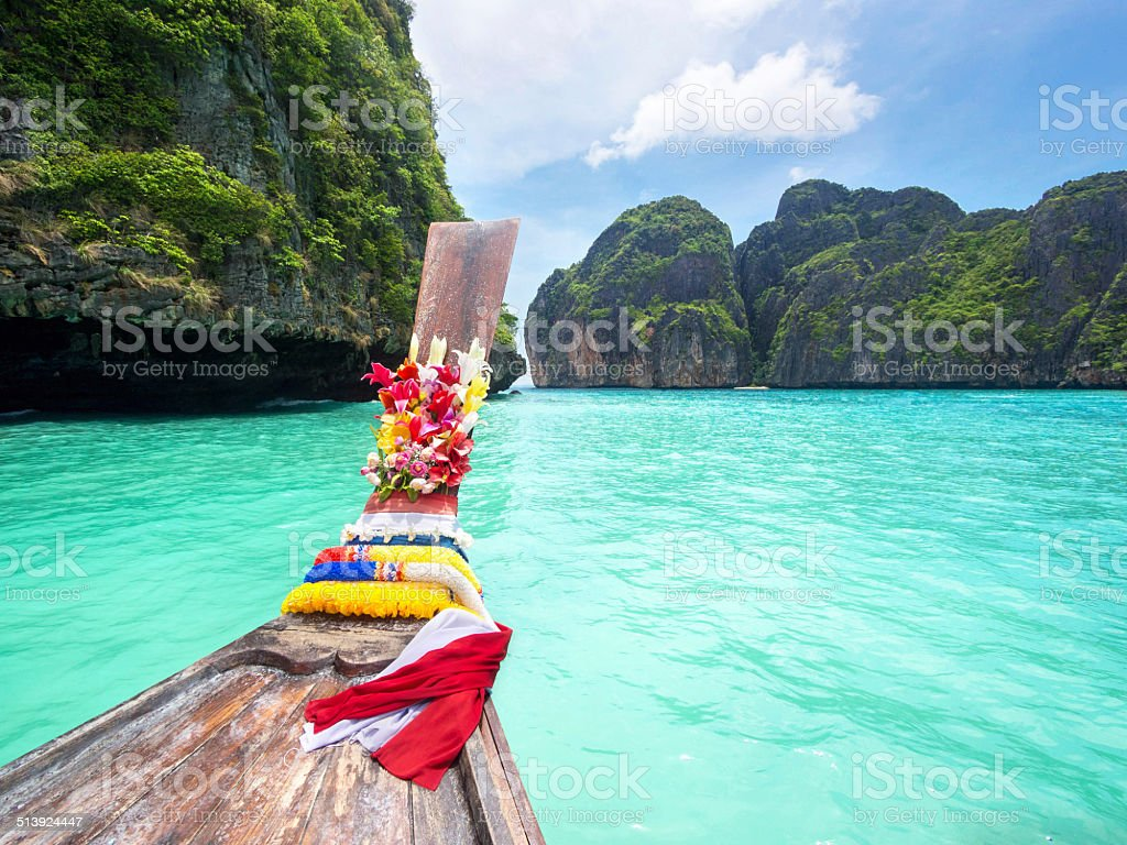 Long Tail Boat in Maya Bay, Ko Phi Phi, Thailand stock photo