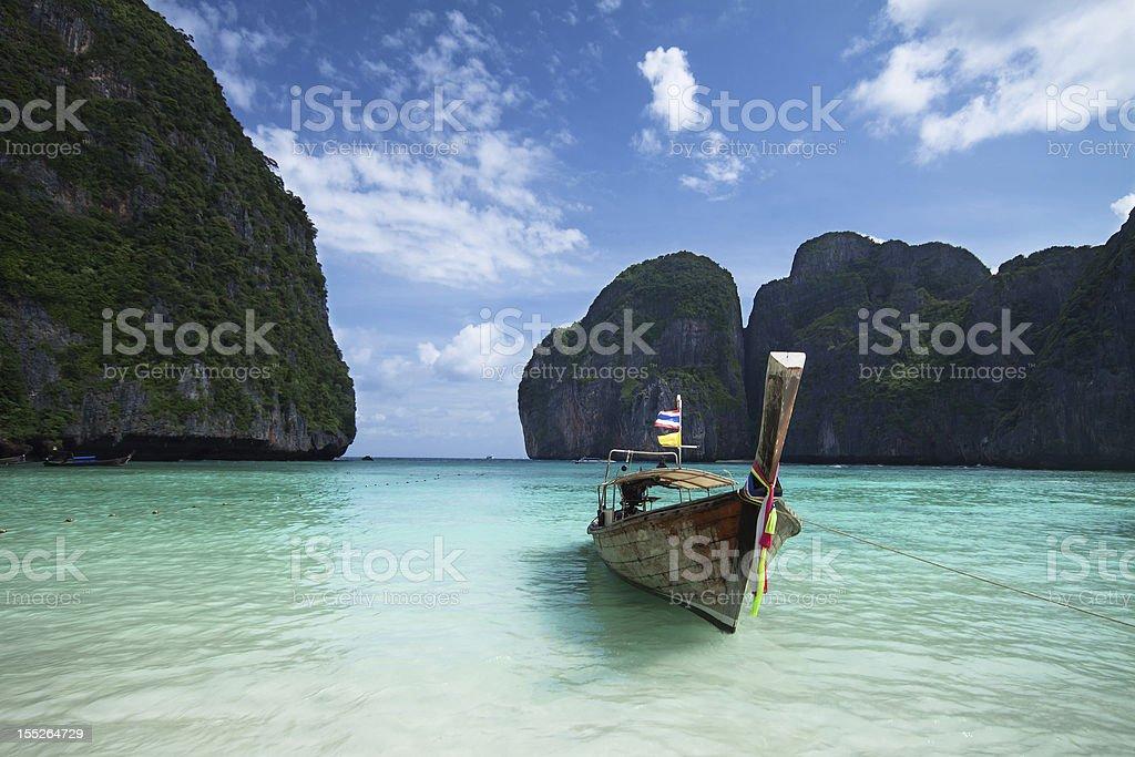 Long tail boat in Maya bay, Thailand stock photo