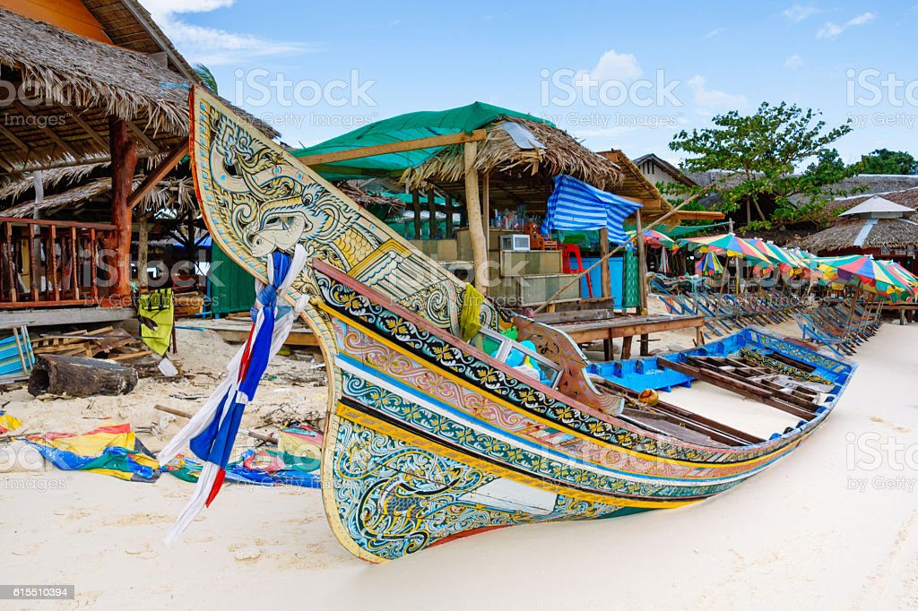 Long tail boat in Phi Phi Island, Krabi, Thailand. stock photo