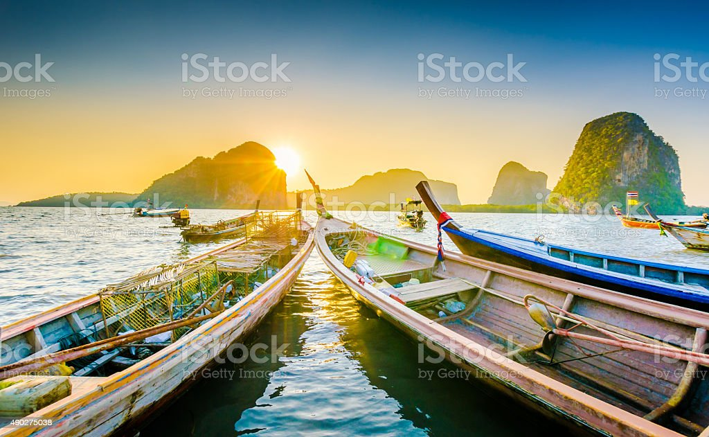 Long Tail boat  in the beautiful beach stock photo