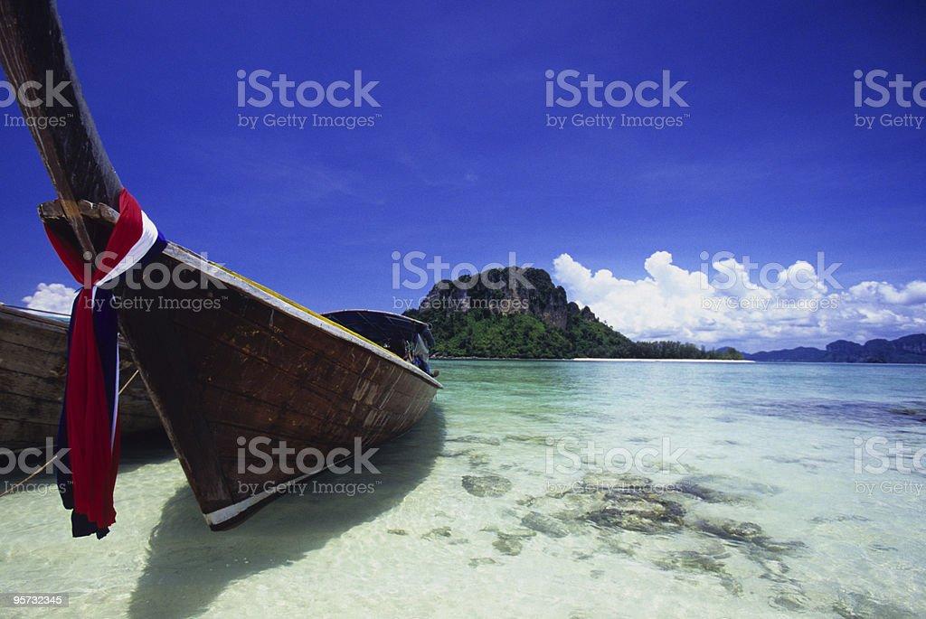 Long tail boat on Thai Beach, Krabi, Thailand  royalty-free stock photo