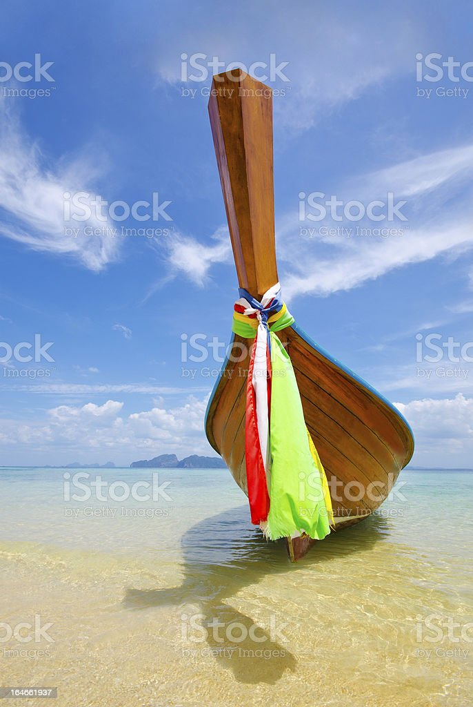 Long Tail Boat On The Beach at Trang Province, Thailand royalty-free stock photo