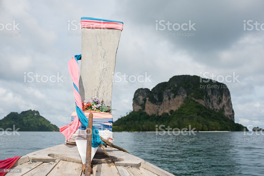 Long tail boat on the sea, Krabi, Thailand stock photo