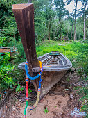 Long Tail Boat Shipyard Repair Tropical Jungle Paradise