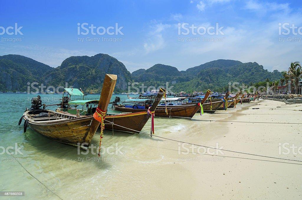 Long Tail Boats at Phi Phi Leh island stock photo