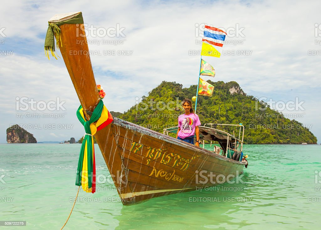 Long tail boats in Krabi's tup island stock photo