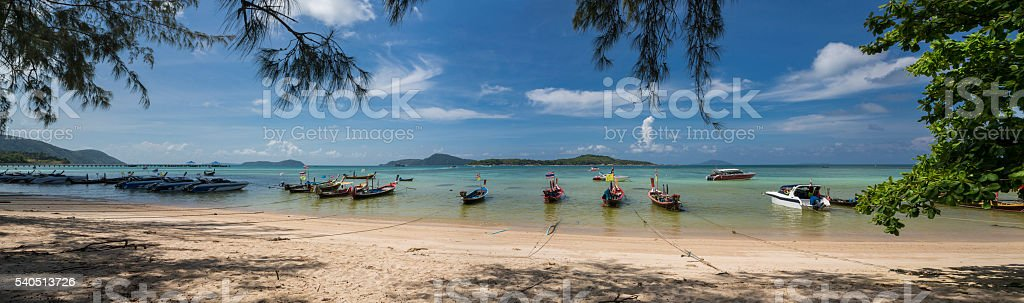 Long tail boats in Rawai beach in Phuket in Thailand stock photo