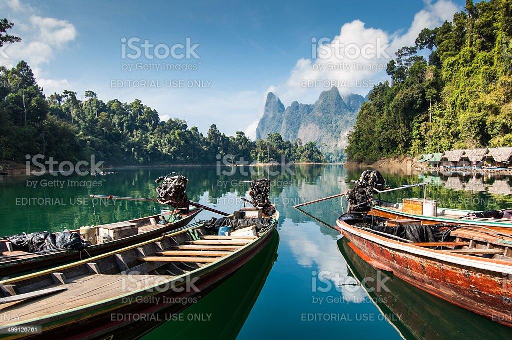 Long tail boats, Khao Sok National Park stock photo
