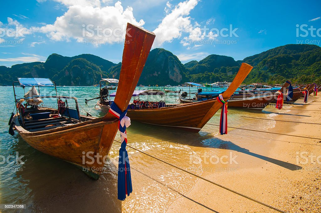 Long tail boats on Phi Phi Islands, Thailand stock photo