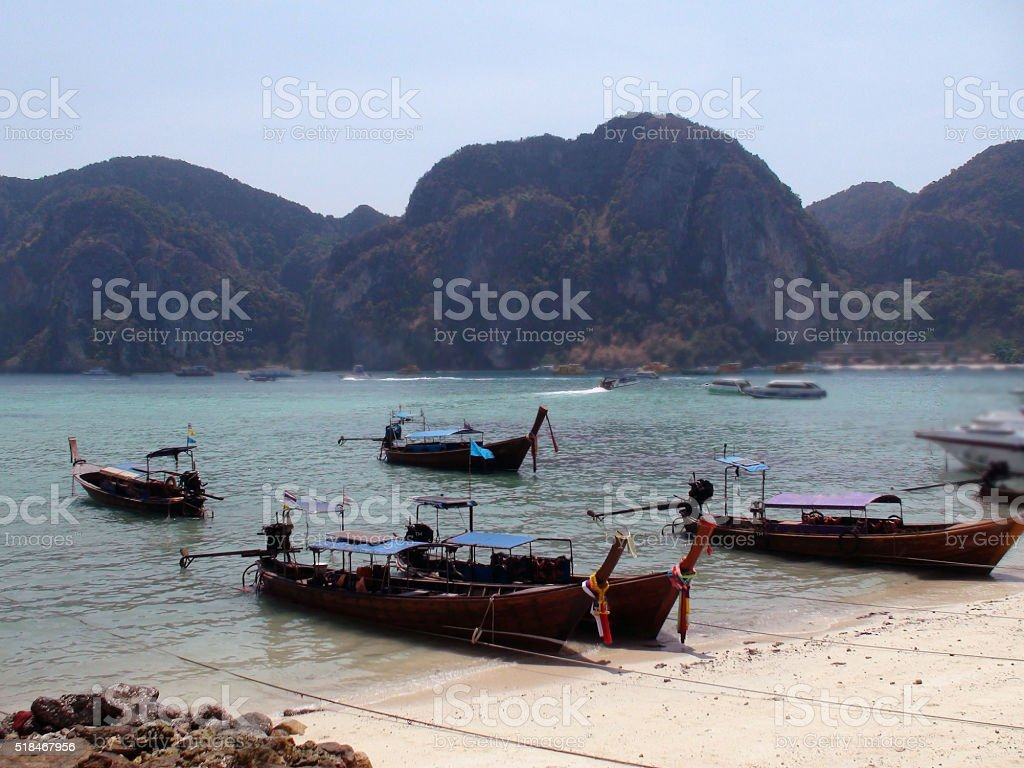 Long Tail Boats Parked On Tonsai Bay Phi Phi Island.Thailand.Asia stock photo
