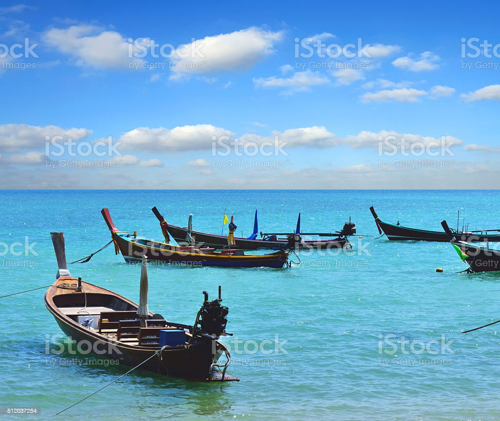 Long Tail Boats, Thailand stock photo
