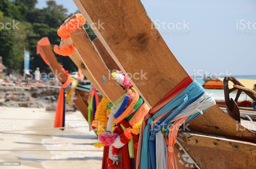 Long tail taxi boats Koh Phi Phi stock photo