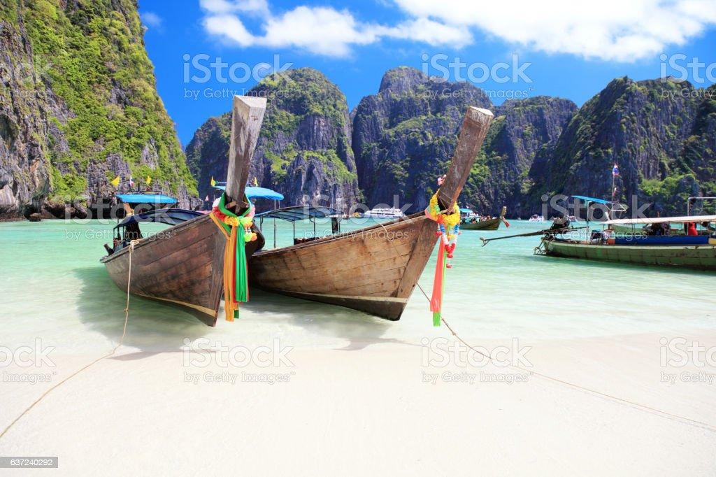 Long tail wooden boats stock photo