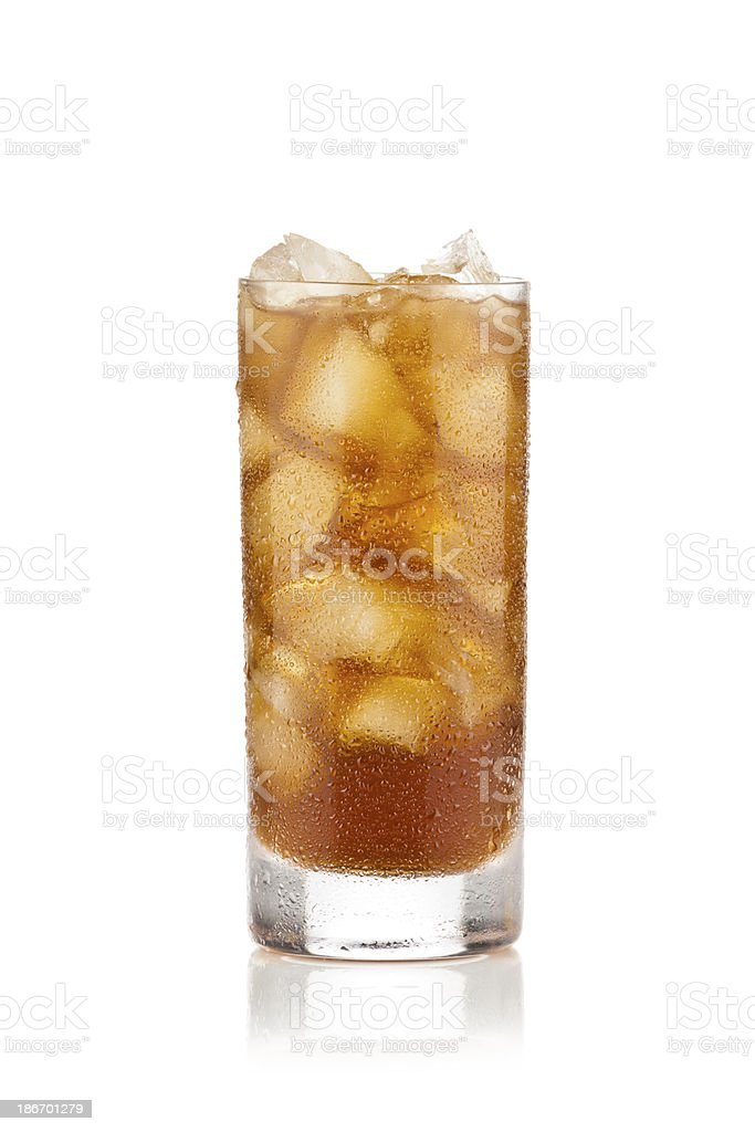 A long tall glass of ice cold ice tea on a white background stock photo
