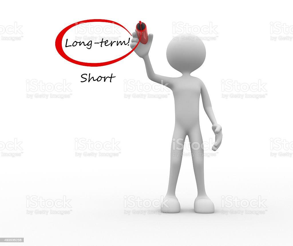 Long Term Vs Short words stock photo