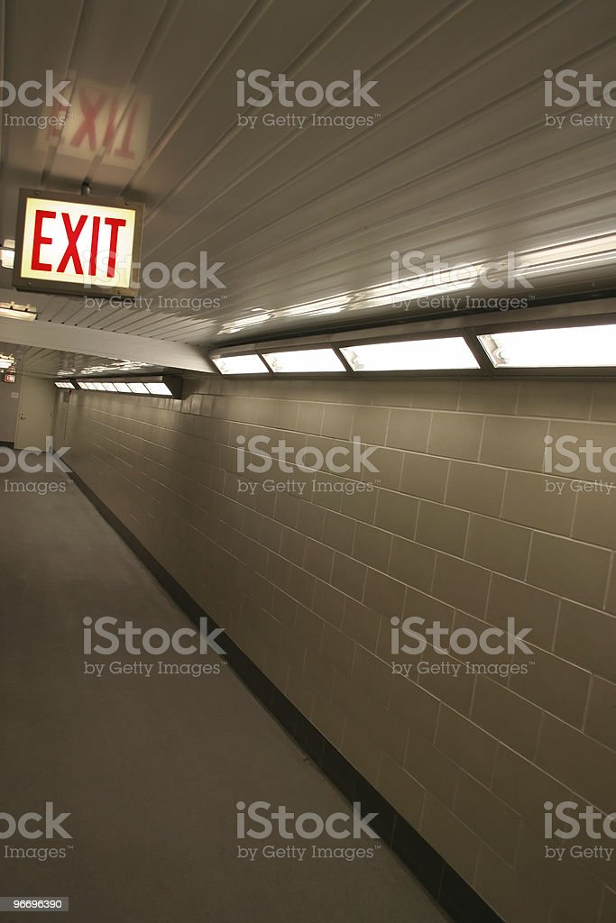 Long Tiled Exit Corridor stock photo