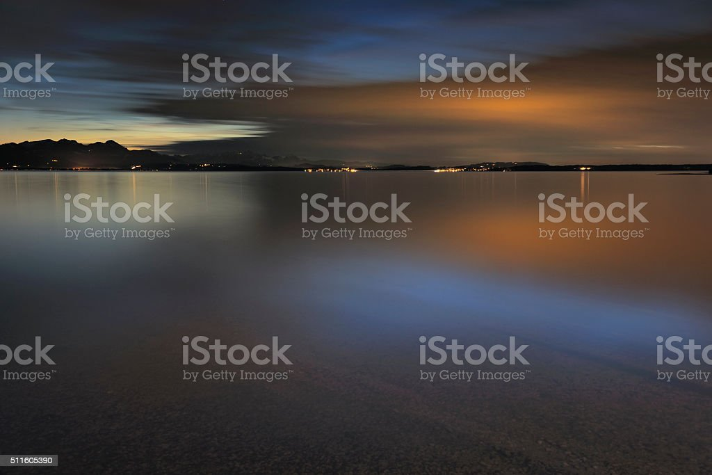 Long Time Exposure of Lake Chiemsee after Sunset stock photo
