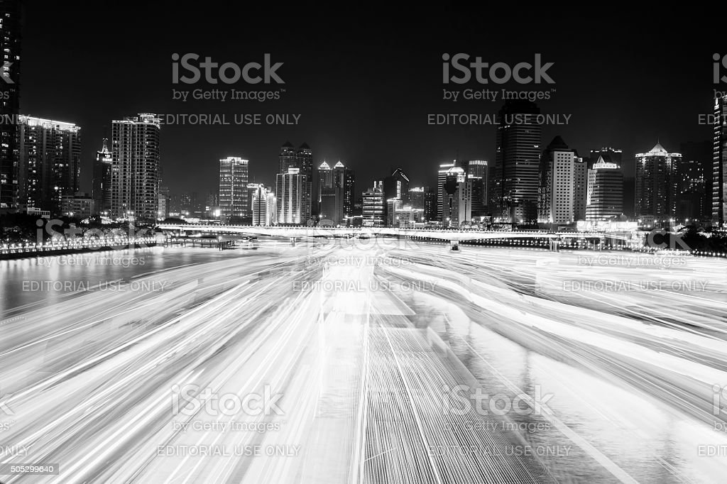 Long time exposure of night cruise stock photo