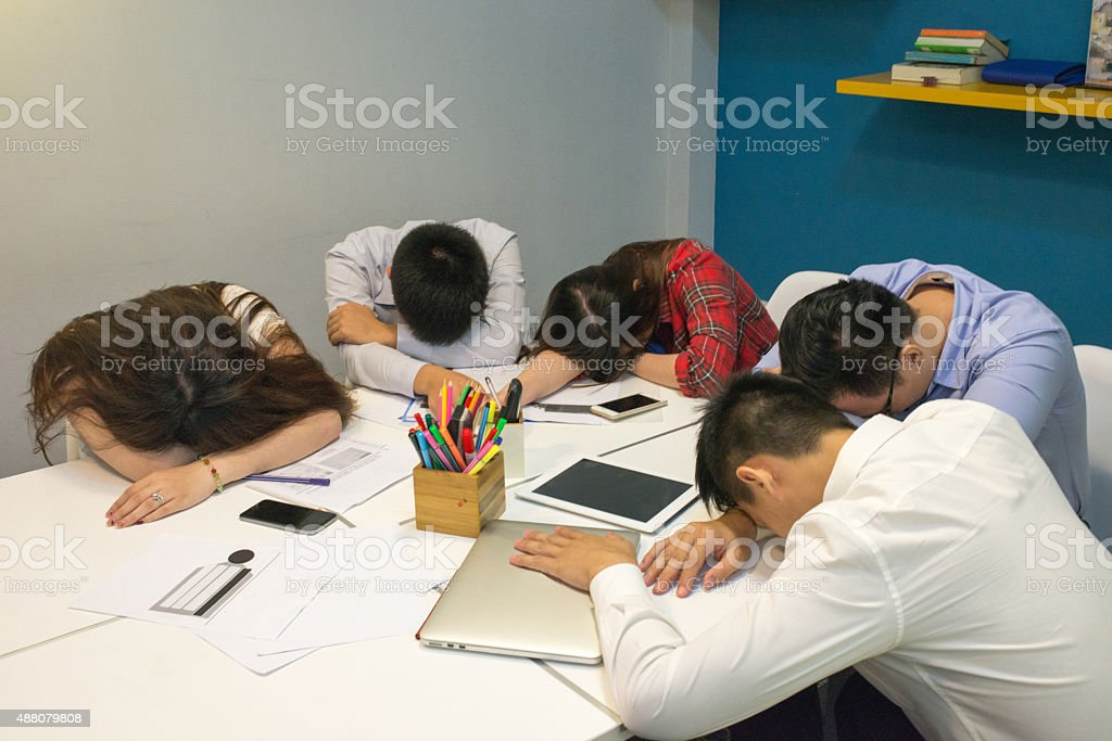 Long, tired and exhausted business meeting stock photo