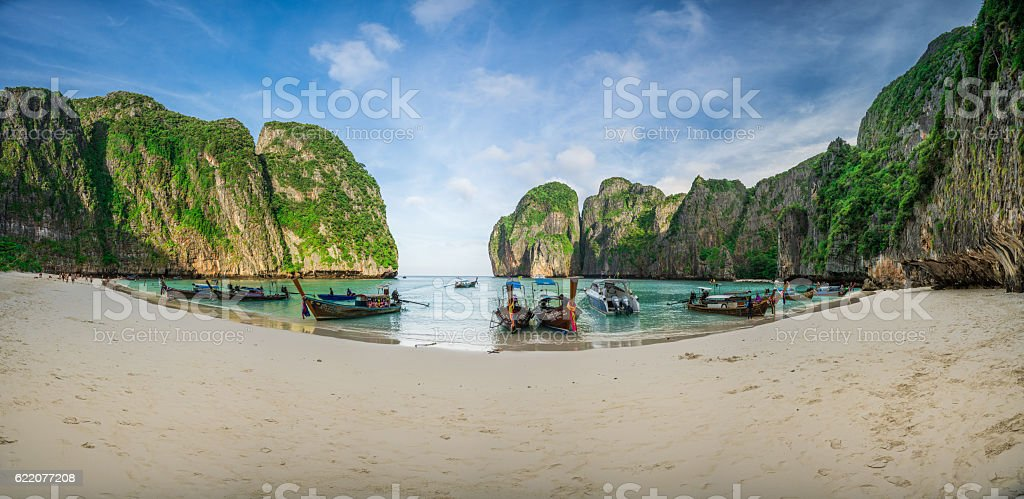Long trail boat parking for service crowd of Tourists stock photo