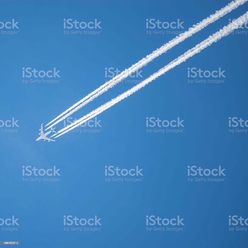 Long trail of jet plane. stock photo